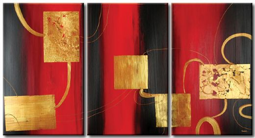 tableau triptyque abstrait rouge noir or peinture abstraite. Black Bedroom Furniture Sets. Home Design Ideas