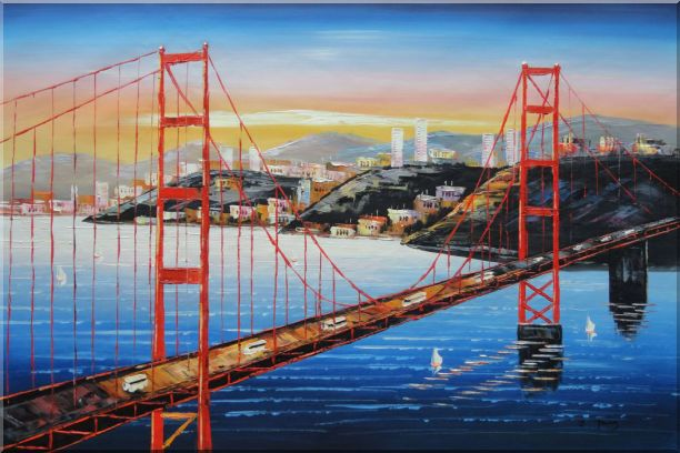 pont san francisco tableau peinture sur toile golden gate. Black Bedroom Furniture Sets. Home Design Ideas