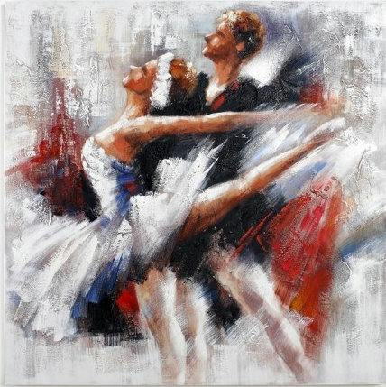 tableau moderne couple danseurs de ballet danse en peinture. Black Bedroom Furniture Sets. Home Design Ideas